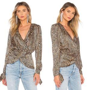 Ronny Kobo cheetah print surplice blouse